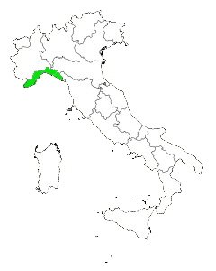 Map of Italy Highlighting Liguria
