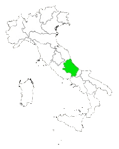 Map of Italy highlighting Abruzzo