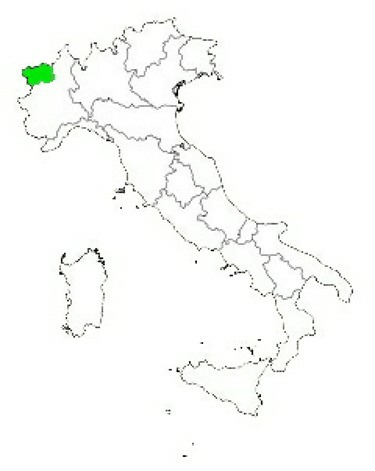 Map of Italy Highlighting Aosta Valley
