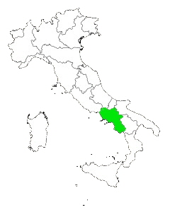 Map of Italy Highlighting Campania