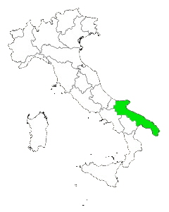 Map of Italy highlighting Apulia