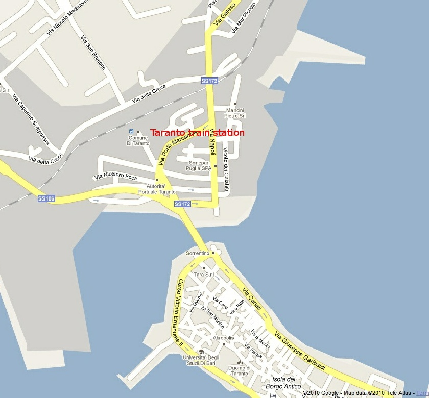 Map Of Italy Train Stations.Taranto
